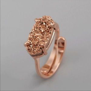 🔴REDUCED➖Rose Gold Druzy Agate Ring
